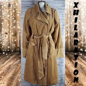 Xhilaration Tan Belted Ribbed Winter Coat Medium